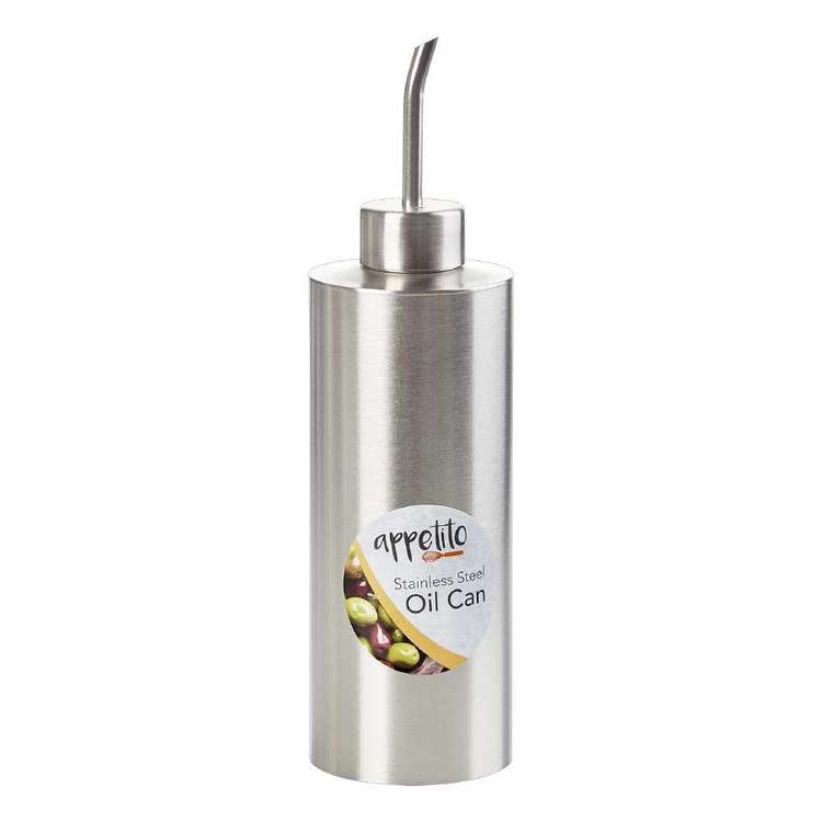 Appetito Stainless Steel Cylinder Oil Can Silver 250 mL