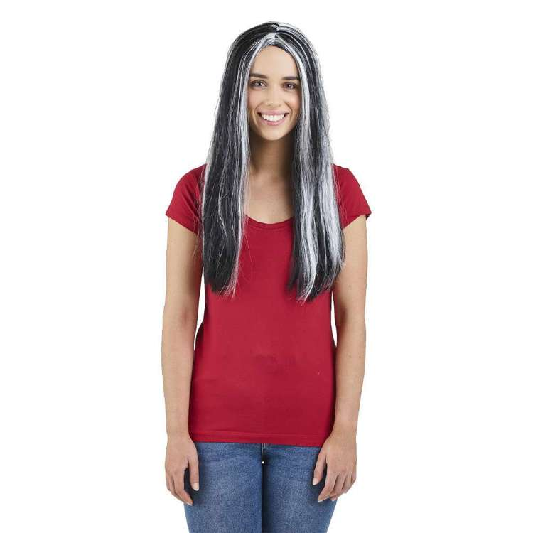 Spooky Hollow Black with White Long Wig