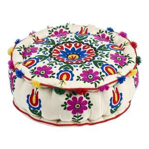 Living Space Machiko Embroidered Ottoman