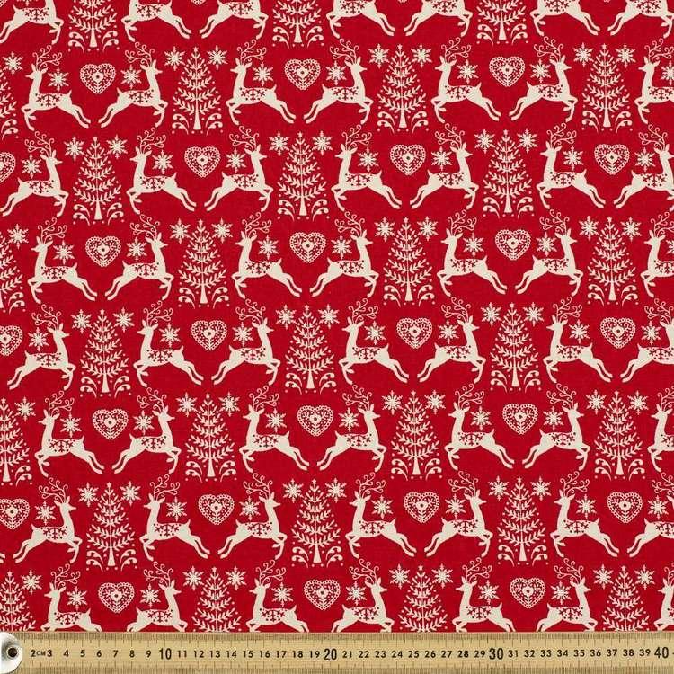 Scandi Deer Tree Cotton Fabric