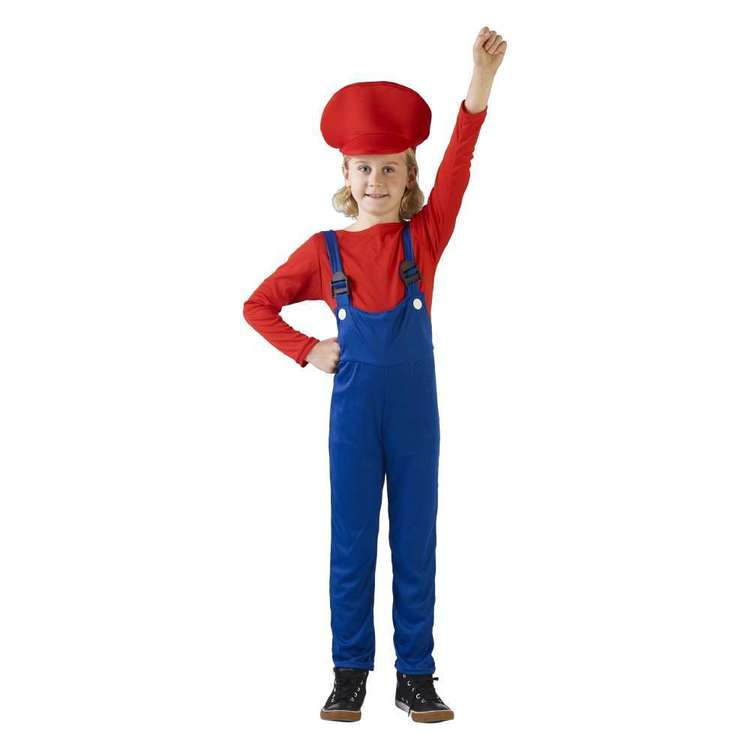Party Creator Italian Plumber Boy Kid's Costume Red