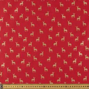 Metallic Christmas Stag Cotton Fabric