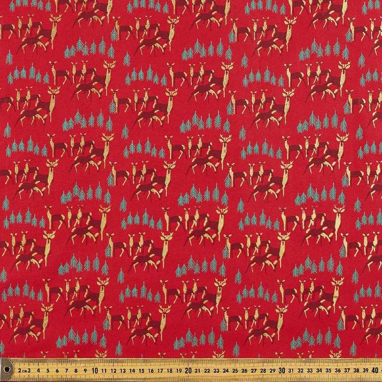Metallic Christmas Reindeer Cotton Fabric