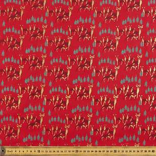 Metallic Christmas Reindeer Cotton Fabric
