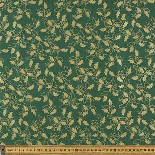 Metallic Christmas Holly Cotton Fabric