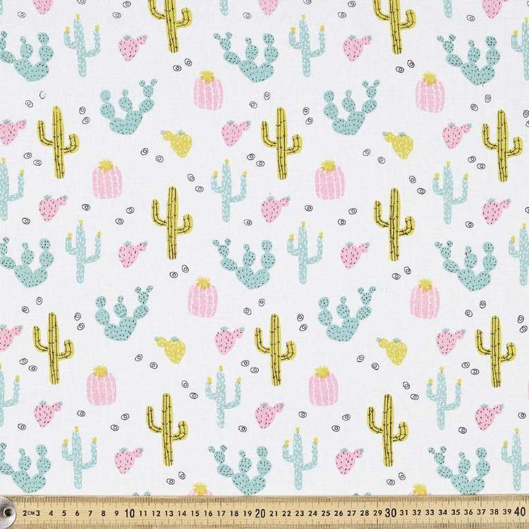 Palm Springs Printed Cotton Fabric Pink & Green 120 cm