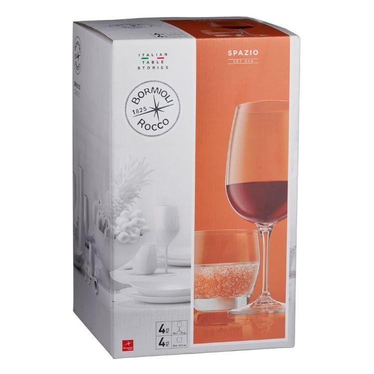 Bormioli Rocco Rococo Spazio Wine & Hi Ball Glasses 8 Pack