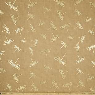 Dragonfly Printed Hessian Fabric