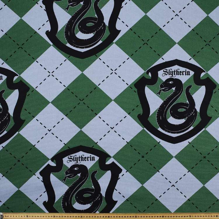Harry Potter Slytherin Crest Fabric Green & Grey 150 cm