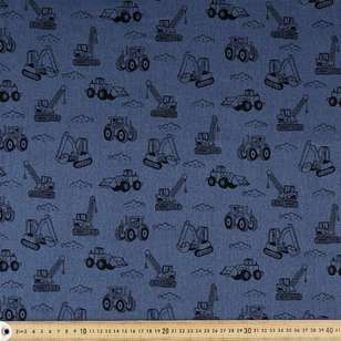 Heavy Machines Printed Montreaux Drill Fabric