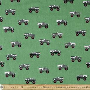 Monster Trucks Printed Montreaux Drill Fabric