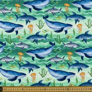 Sea Creatures Digital Printed Organic Cotton Poplin