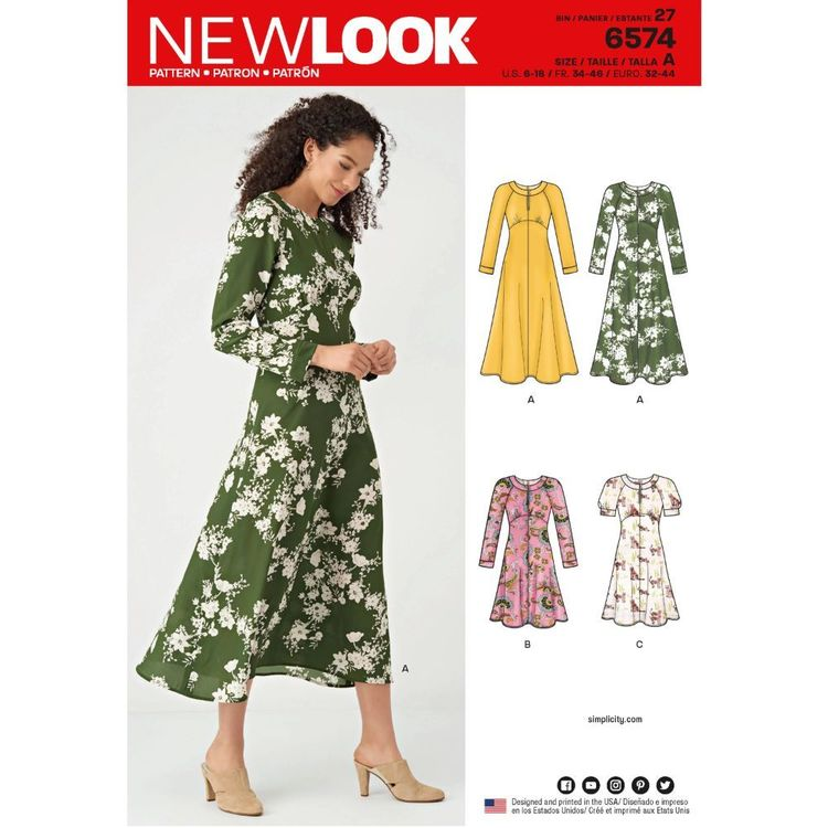 New Look Pattern 6574 Misses' Dresses