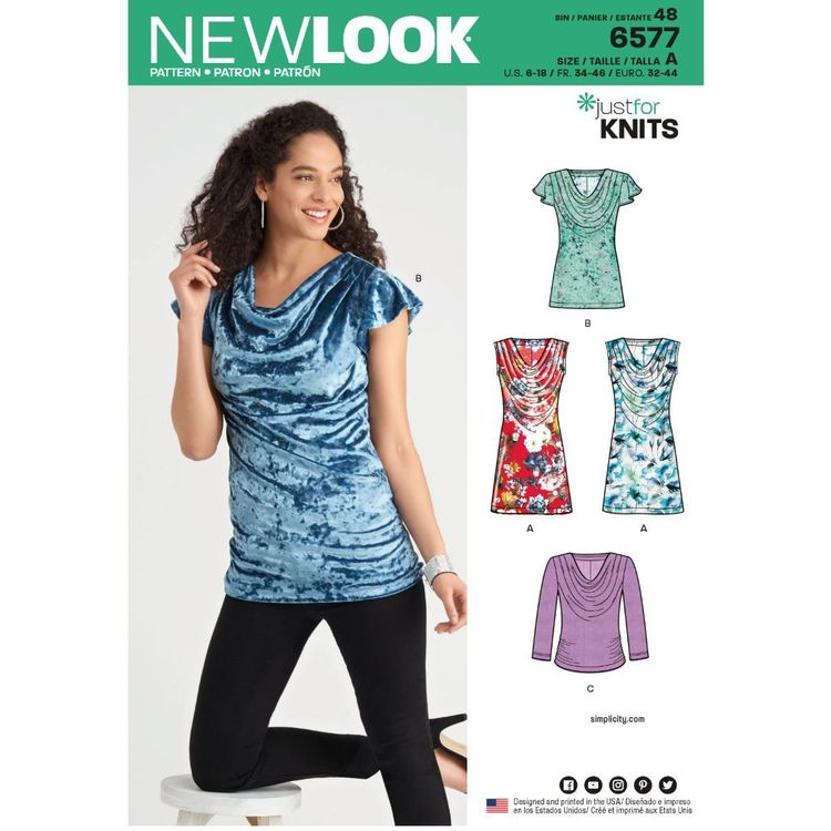 New Look Pattern 6577 Misses' Knit Tops