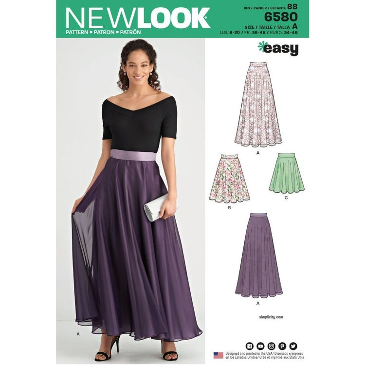 New Look Pattern 6580 Misses' Circle Skirt
