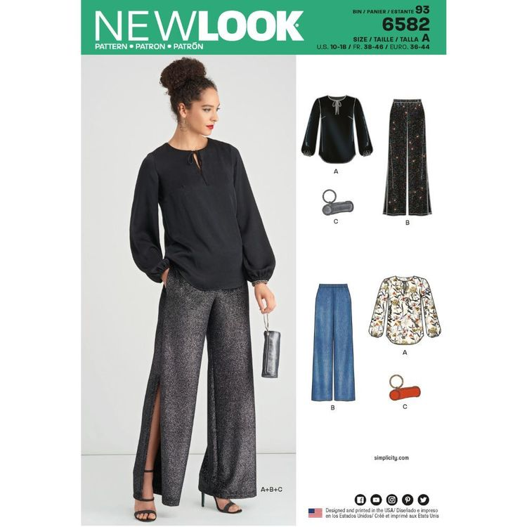 New Look Pattern 6582 Misses' Pants, Top and Clutch