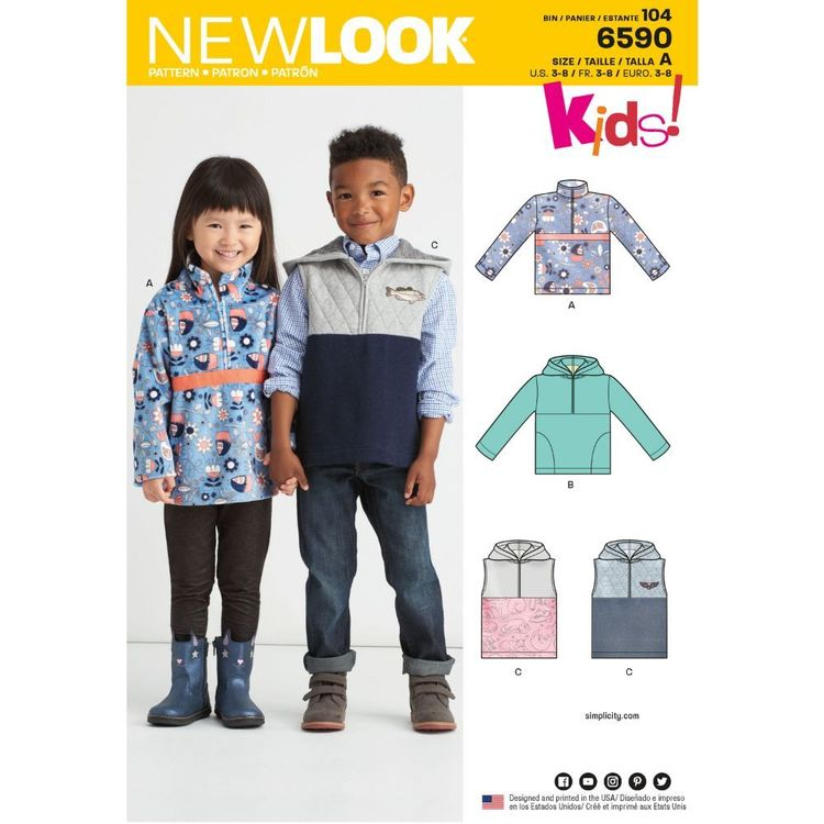 New Look Pattern 6590 Children's Pullover Vest or Top