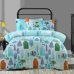 Ombre Blu Happy Camper Quilt Cover Set