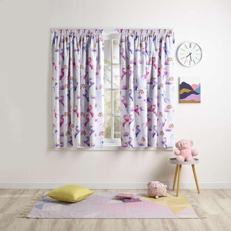 Ombre Blu Rainbow Unicorn Pencil Pleat Curtain