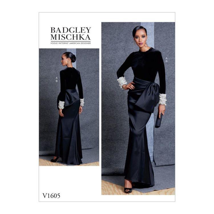 Vogue Pattern V1605 Badgley Mischka Platinum Misses' Top And Skirt