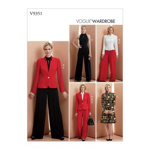 Vogue Pattern V9351 Vogue Wardrobe Misses' Jacket, Top, Dress, Pants And Jumpsuit