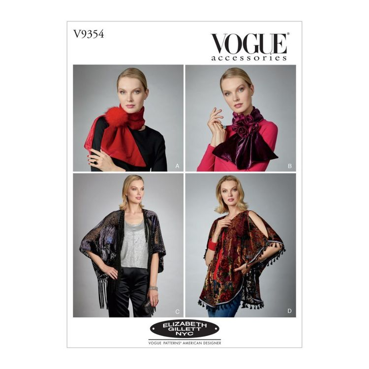 Vogue Pattern V9354 Elizabeth Gillet Misses' Scarves, Shrug And Kimono