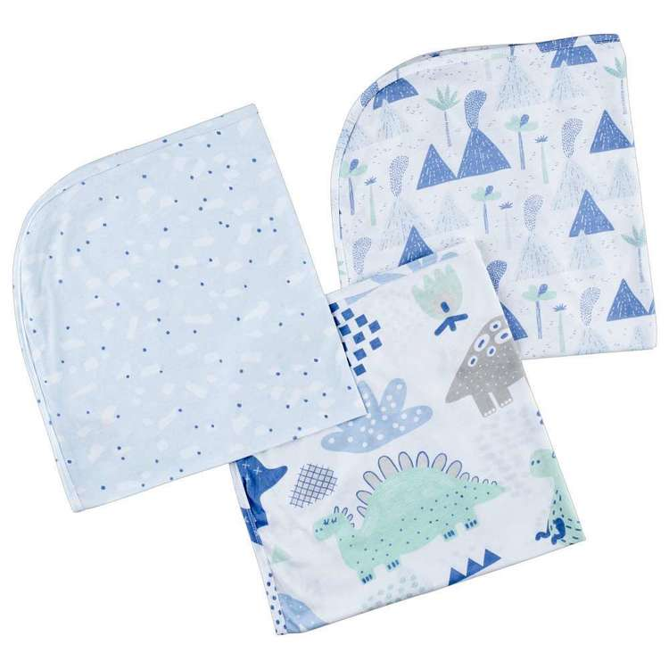 KOO Baby Dino Printed Jersey Wraps 3 Pack