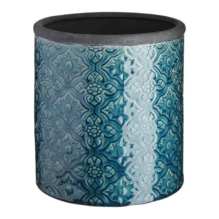 Living Space European Holiday Mosaic Ceramic Planter Pot #4 Teal 20 x 22 cm