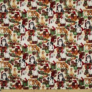 Christmas Puppies Cotton Fabric