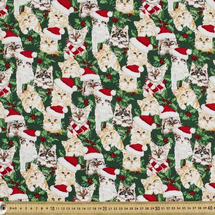 Christmas Cats Cotton Fabric Green 110 cm