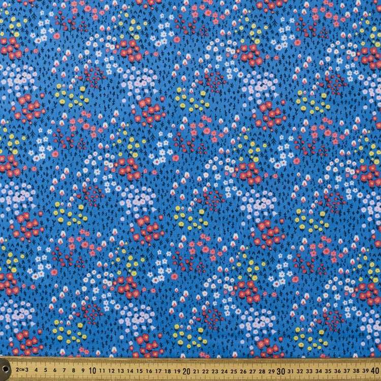 Pretty Fields Printed Mix N Match TC Fabric Royal 112 cm