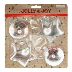 Jolly & Joy Decorate Fillable Photo Baubles 4 Pack