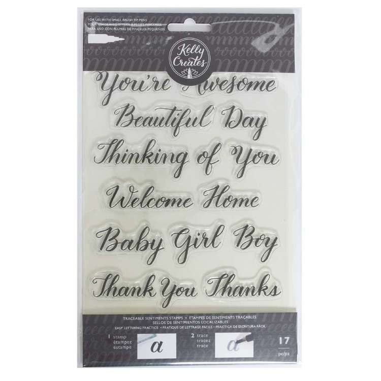 Kelly Creates Sentiment Traceable Acrylic Stamps
