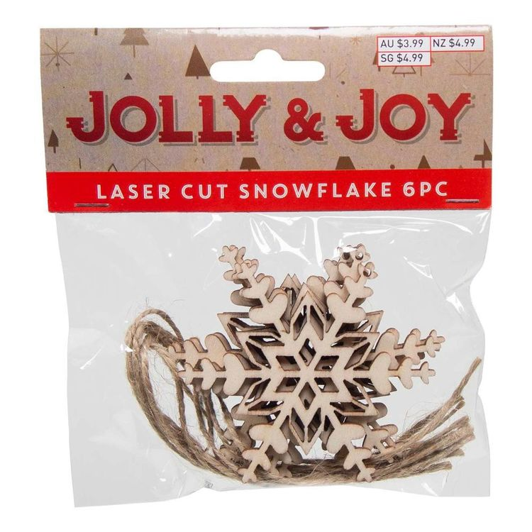 Jolly & Joy DIY Laser Cut Filigree Snowflake 6 Pack