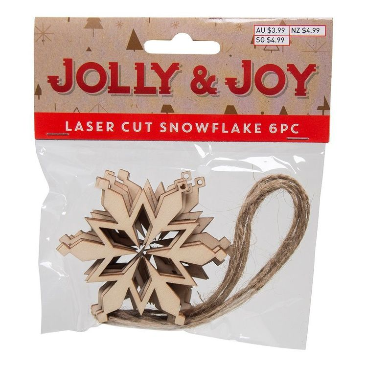Jolly & Joy DIY Laser Cut Geo Snowflake 6 Pack