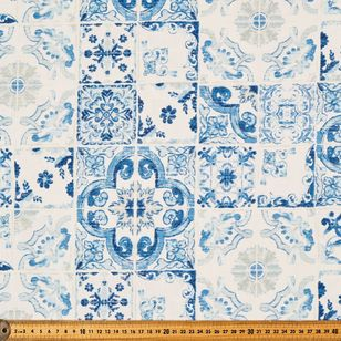 Italian Tile Weather Resistant Canvas Fabric