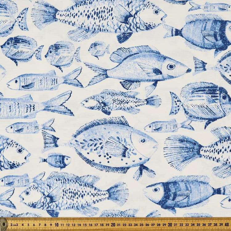 Fish Weather Resistant Canvas Fabric White & Blue 150 cm