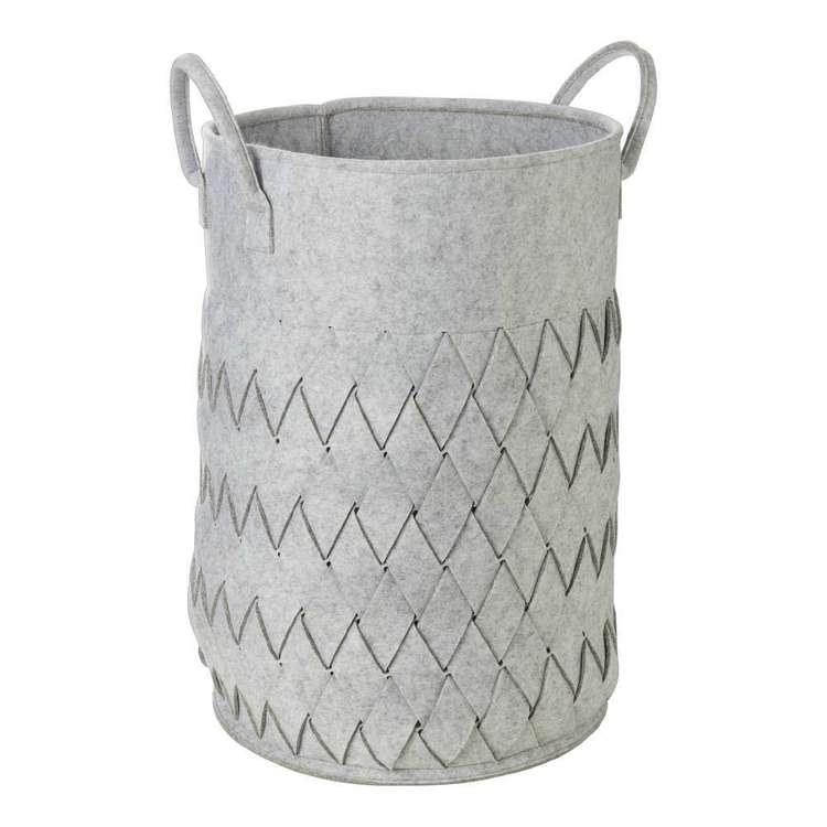 Living Space Felt Weave Hamper Grey Large