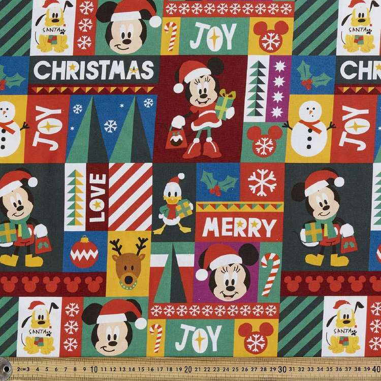 Disney Christmas Wrapping Cotton Fabric Multicoloured 112 cm