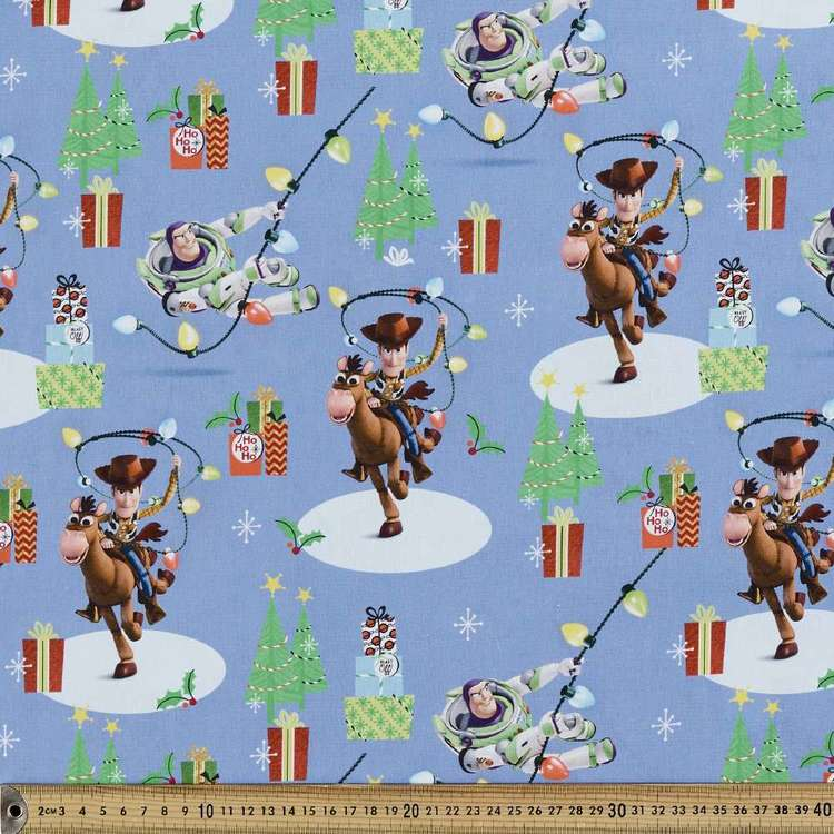 Disney Toy Story Christmas Cotton Fabric Blue 112 cm