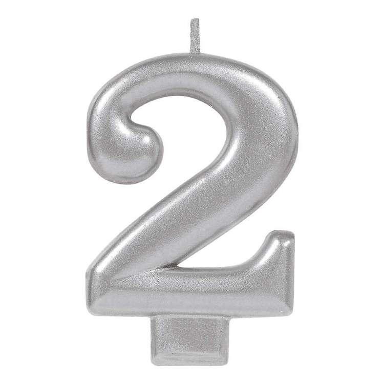 Amscan No. 2 Silver Metallic Numeral Candle