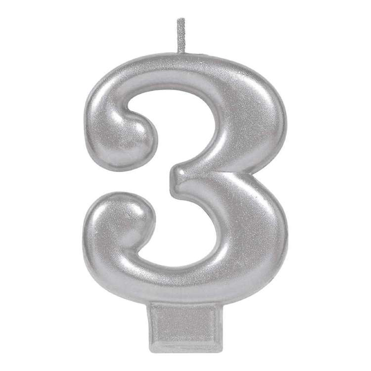 Amscan No. 3 Silver Metallic Numeral Candle