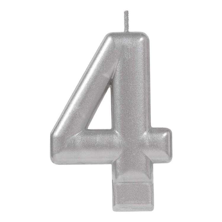 Amscan No. 4 Silver Metallic Numeral Candle