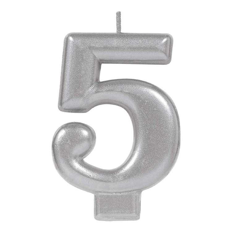 Amscan No. 5 Silver Metallic Numeral Candle