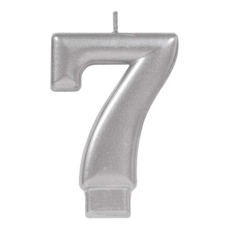 Amscan No. 7 Silver Metallic Numeral Candle