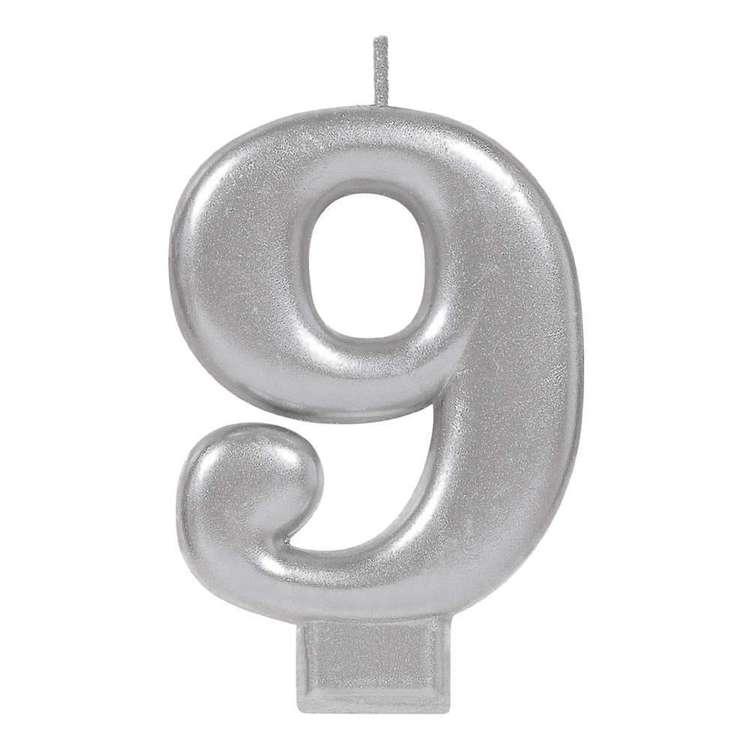 Amscan No. 9 Silver Metallic Numeral Candle