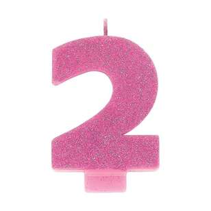 Amscan No. 2 Pink Glitter Numeral Candle