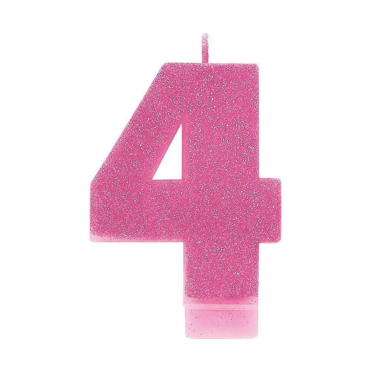 Amscan No. 4 Pink Glitter Numeral Candle