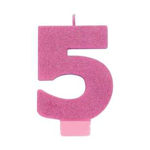 Amscan No. 5 Pink Glitter Numeral Candle