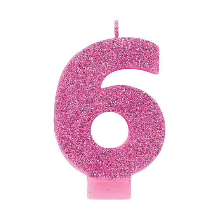 Amscan No. 6 Pink Glitter Numeral Candle Pink